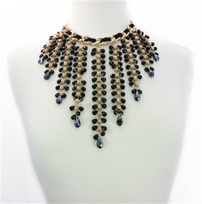 strands of black gold necklace