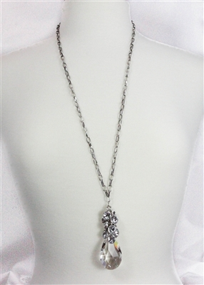 clear drop stone necklace